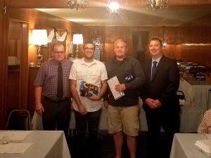 Training Director David Wilkinson, Graduating Apprentices Adriano Conti and Levie O'Brian and Chairman Phil Binkiwitz